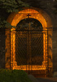 Night arbor. Photo of night arbor with a grid in the park Royalty Free Stock Image