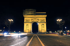 Night Arc. Beautiful night view of the Arc de Triomphe in Paris, France Royalty Free Stock Photos