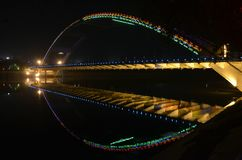 Night arc bridge Royalty Free Stock Photography