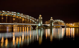 Night arched bridge Stock Photo