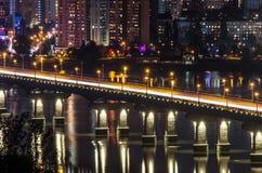 Night architectural illumination of the bridge Royalty Free Stock Photos