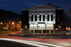 Night architectural illumination of building of Kamchatka Drama and Comedy Theater Stock Photos