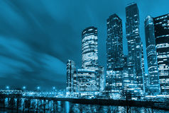 Night architecture - skyscrapers with glass facade. Modern buildings in Moscow business district. Concept of economics Royalty Free Stock Photo