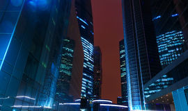 Night architecture - skyscrapers with glass facade. Modern buildings in Moscow business district. Evening dynamic royalty free stock images