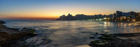 Night arriving at Rio de Janeiro Royalty Free Stock Photo