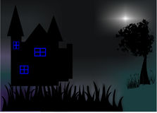 Night Art. Night with silhouette building like castle, tree, and grass. And light make it amazing stock photography