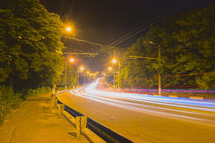 Night asphalt highways road in rural scene Royalty Free Stock Photography