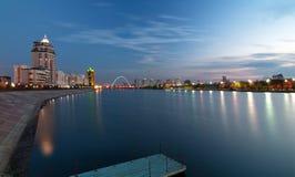 Night Astana. Viev at river at Astana city at night royalty free stock photos