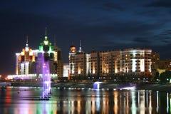 Night Astana. Viev at river at Astana city at night Royalty Free Stock Images