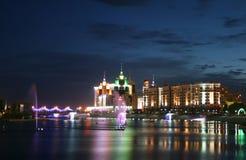 Night Astana. Viev at river at Astana city at night Stock Images