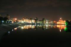 Night Astana. Viev at river at Astana city at night Royalty Free Stock Photography