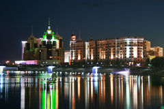 Night Astana. Night view at the river in Astana, Kazakhstan stock photography