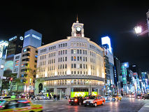 Night At Ginza Wako Store Heart Of Ginza Tokyo Royalty Free Stock Image