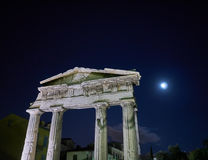 Night in Athens Greece, the entrance of the Roman forum. Under the moonlight Royalty Free Stock Image