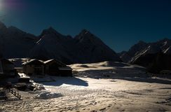 Night atmosphere in a mountain village  in the Engadine Stock Images