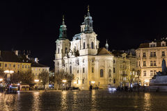 Night atmosphere on the Old Town Square in Prague Royalty Free Stock Photo
