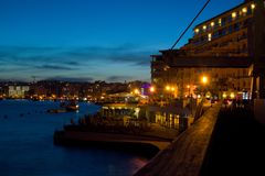 Night atmosphere in Sliema, Malta. Night atmosphere with lights in Sliema, Malta Royalty Free Stock Photos