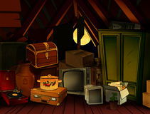 Night attic. Many old subjects lie on an attic Stock Illustration