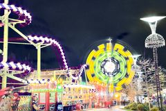 Night attraction amusement park Royalty Free Stock Photography