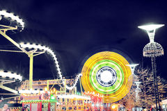 Night attraction amusement park Royalty Free Stock Images
