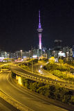 Night in Auckland City. Roads, streets, overpasses and motorways in the night of Auckland City, the biggest town in New Zealand. On the background is the Sky Stock Photos