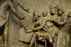 Night of 4 August 1789. Detail of bronze plaque of the statue of Marianne by Leopold Morice at Place de la Republique, Paris France devoted to the Third Republic Stock Photo