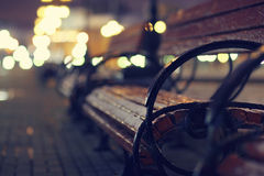 Night autumn bench city Stock Photography