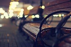Night autumn bench city. Blur Stock Photography