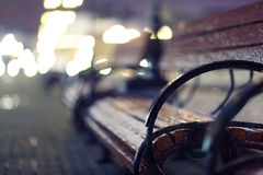 Night, autumn bench city Stock Images