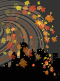Night autumn landscape. Night autumn background, vector illustration Royalty Free Stock Image