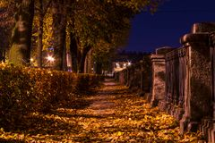Night autumn view of embankment of Kryukov Canal Stock Photography