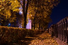 Night autumn view of embankment of Kryukov Canal Stock Photo