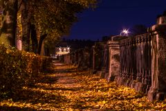 Night autumn view of embankment of Kryukov Canal Royalty Free Stock Image