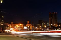 Night Avenue with cars at speed royalty free stock photo