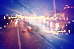 Night background bokeh city Stock Photos