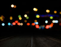 Night background. Bokeh city lights Stock Images