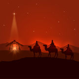 Night background with Christian Christmas scene. Three wise men, birth of Jesus and shining star, illustration stock illustration