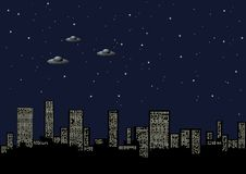Night background with the city. And the aliens Stock Images