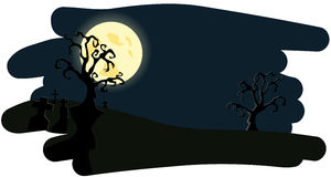 Night background on Helloween. Vector illustration Stock Photo