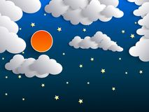 Night background, Moon, Clouds and Stars on dark blue sky Stock Photo