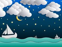 Night background, moon, clouds and stars on dark blue sky on ocean Royalty Free Stock Images