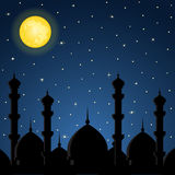 Night background with mosque silhouette Royalty Free Stock Images