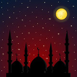 Night background with mosque silhouette Stock Photo