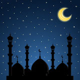 Night background with mosque silhouette Stock Images