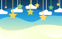 Night background with star and could. Cute vector Royalty Free Stock Photography