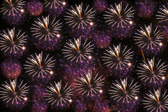 Night background or texture with fireworks Royalty Free Stock Photos