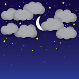 Night background- white paper clouds, night sky, moon, stars. The graphic illustration consists of dark blue sky and grey clouds representing midnight with Royalty Free Stock Images