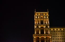 Night Baku. Government house Stock Images
