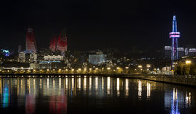 Night Baku. Night scenes landscape water see baku azerbaijan boulevard night city lights Royalty Free Stock Photo