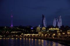 NIght Baku.Types of boulevards on the shore of the Caspian Sea. stock photo